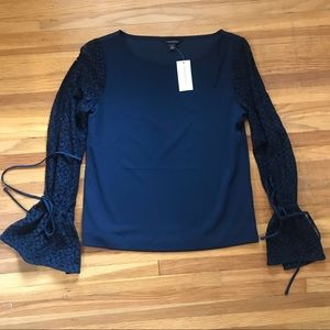 Navy Blouse with Long Sleeve Lace
